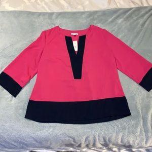 New York & Company Pink/Navy Blouse